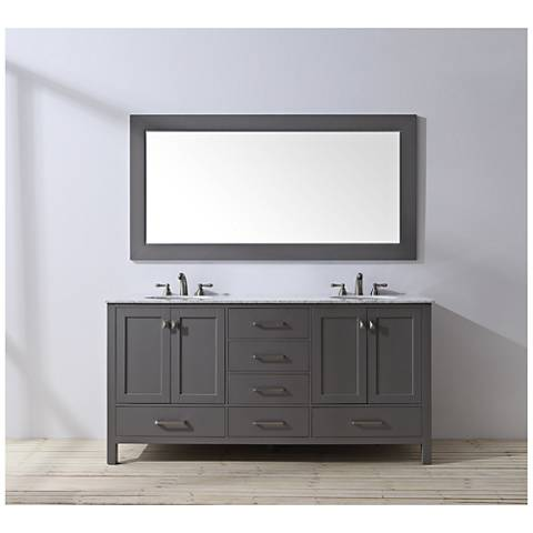"Malibu 72"" Gray Double Sink Bathroom Vanity"