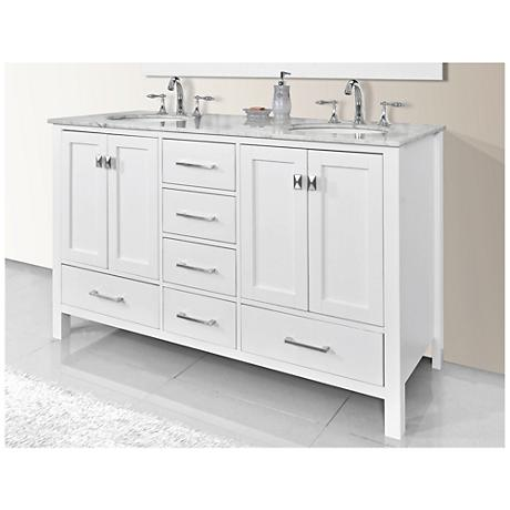 "Malibu 72"" Pure White Double Sink Bathroom Vanity"