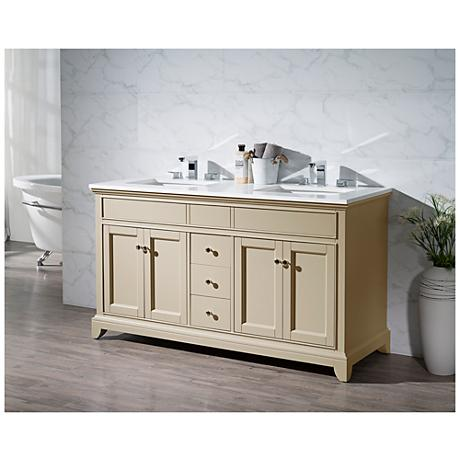 "Erin 59"" Taupe Double Sink Bathroom Vanity"