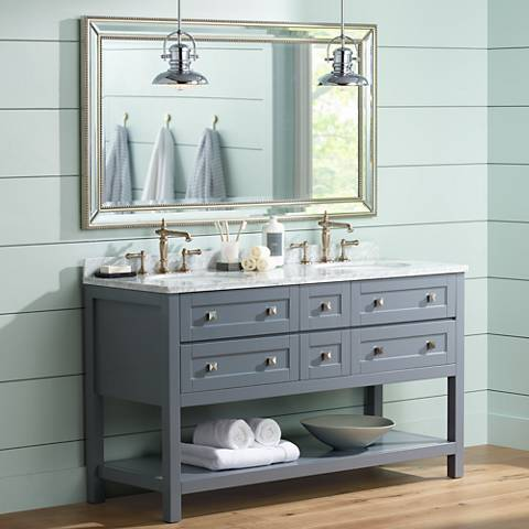 "Marla 60"" Gray Double Sink Bathroom Vanity with Mirror"