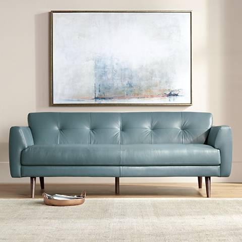 "Digio Adda 80"" Wide Blue Leather Sofa"