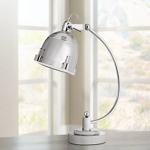 Hubble Polished Chrome Arc-Arm Adjustable Desk Lamp