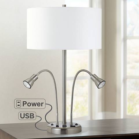 Sivana Brushed Steel LED Dual Reading Light Desk Lamp