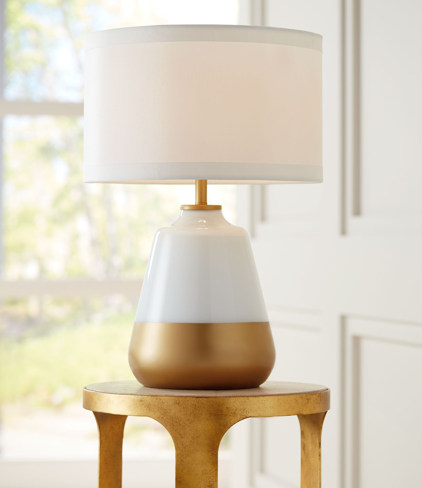 Wonderful Possini Euro Alain White Gold Glass Table Lamp