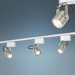 Track lighting lamps plus open box outlet site pro track satin nickel 150 watt low voltage track light kit aloadofball