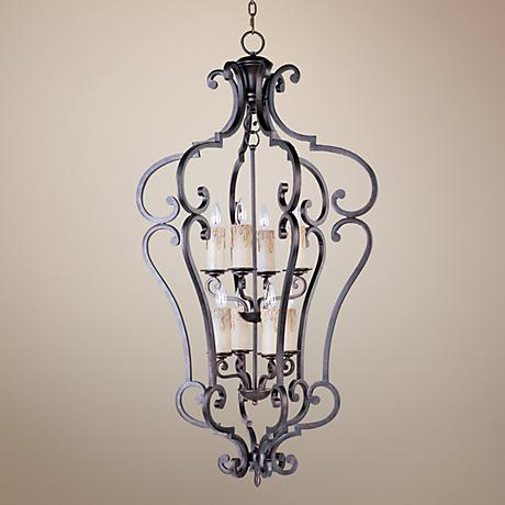 Richmond Colonial Umber Finish 8-Light Pendant Chandelier