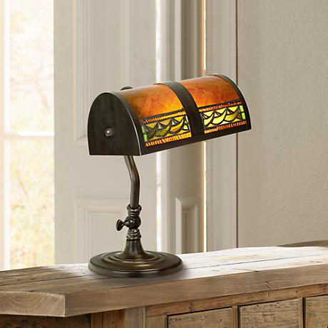 Bronze and Mica Piano Lamp by Dale Tiffany