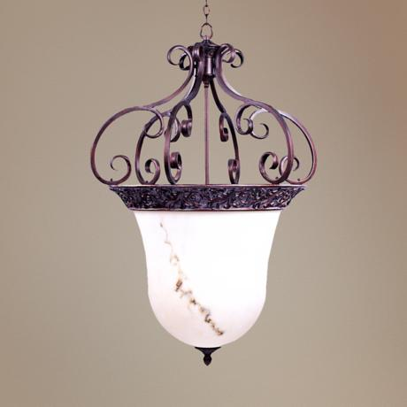 Grecian Bronze Finish Bowl Pendant Chandelier
