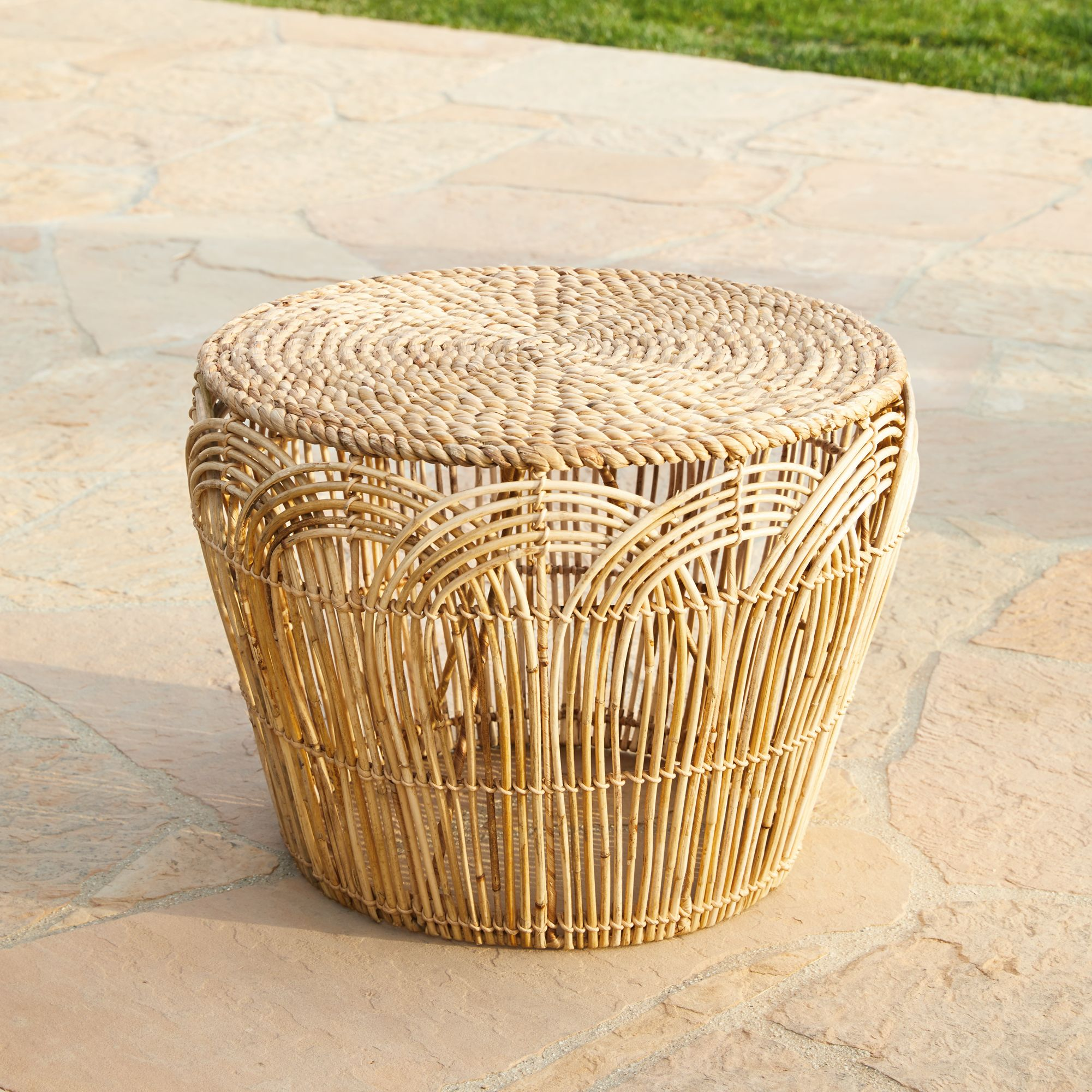 calliope natural round accent table - Outdoor Accent Tables