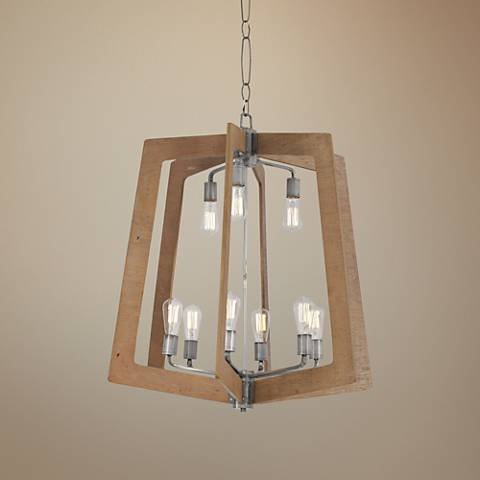 "Varaluz Lofty 30""W Wheat Wood and Steel 9-Light Chandelier"