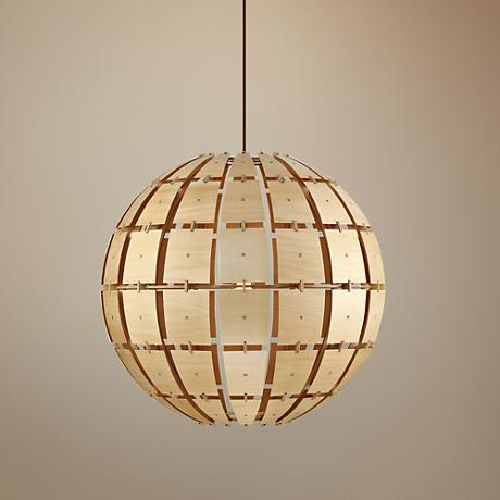 "Wooda Coulda Shoulda 23 1/2""W Yellow Large Orb Pendant Light"