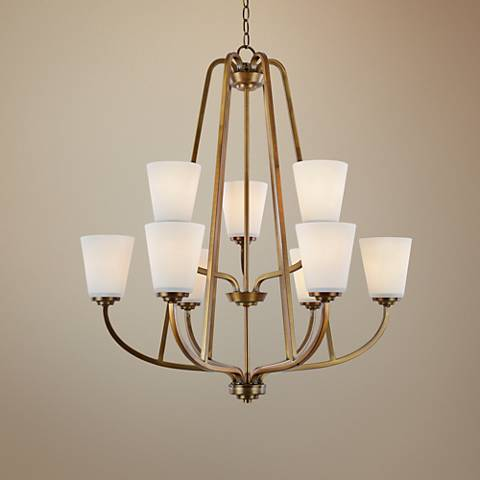"Artcraft Hudson 28 3/4""W Vintage Brass 9-Light Chandelier"