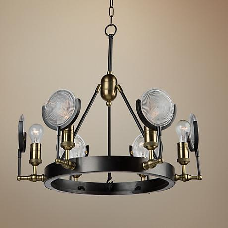 "Baker Street 27 1/2""W Plated Slate 6-Light Chandelier"