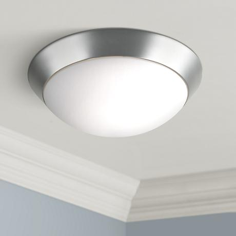 "Davis Brushed Steel 13"" Wide Ceiling Flushmount"