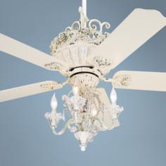 "52"" Casa Chic Antique White Ceiling Fan with 4-Light Kit"