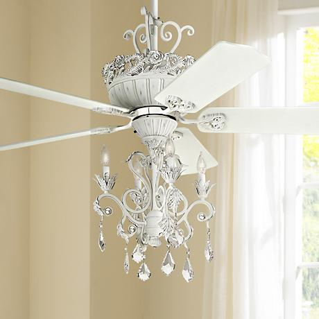 "52"" Casa Chic™ Rubbed White Chandelier Ceiling Fan"
