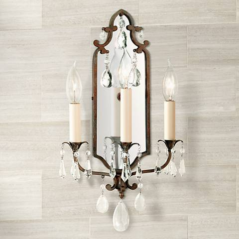 "Maison de Ville 18""H Crackle Bronze 3-Light Wall Sconce"