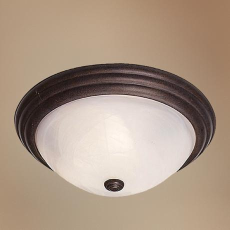 "Traditional Bronze Finish 13"" Wide Ceiling Light Fixture"