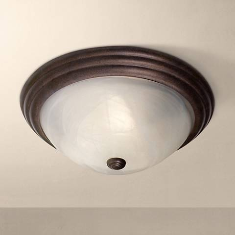 "Regency Hill Burnished Bronze 15"" Wide Ceiling Light Fixture"