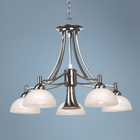 Contemporary Brushed Nickel Downlight Chandelier