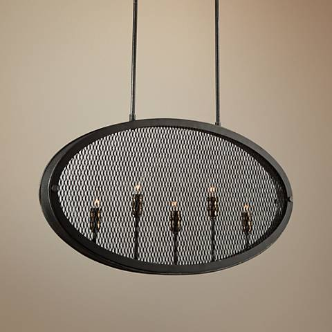 "Artcraft Riverside 30"" Wide Textured Slate 5-Light Pendant ..."