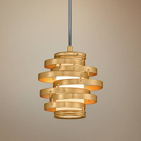 "Corbett Vertigo 9 1/4"" Wide Gold Leaf LED Mini Pendant"
