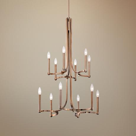 "Eurofase Cantu 21"" Wide Satin Gold 12-Light Chandelier"