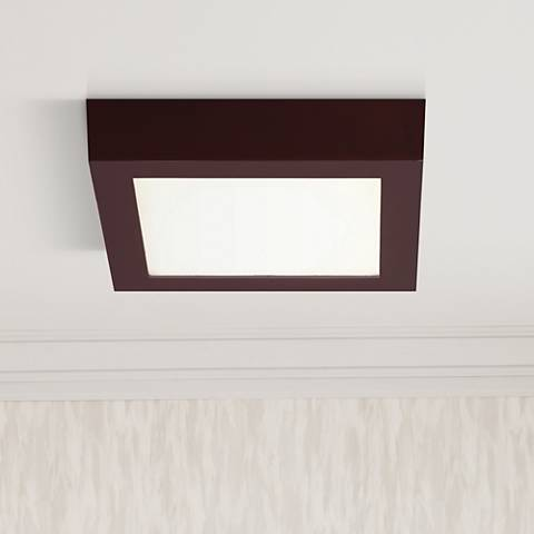 "Strike 9 1/2"" Wide Square Bronze LED Ceiling Light"