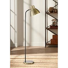 Tupper Black and Antique Brass Pharmacy Downlight Floor Lamp