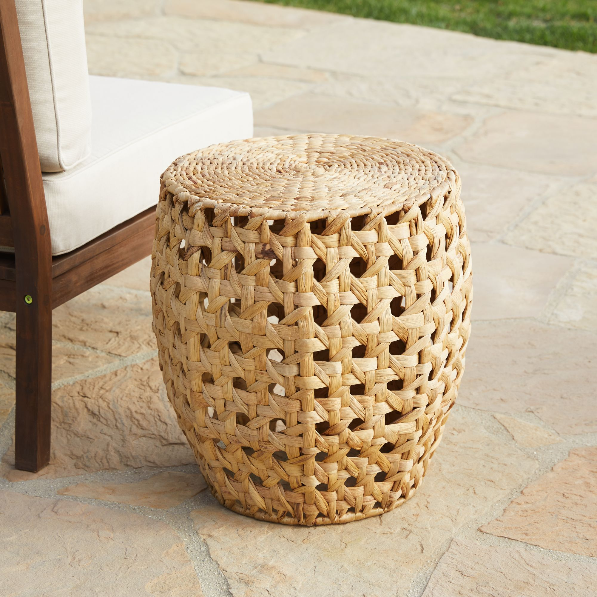 alder water hyacinth cane weave accent table - Outdoor Accent Tables