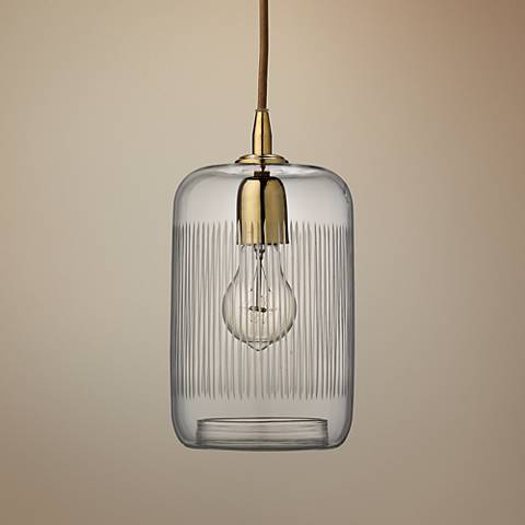 "Silhouette 6"" Wide Clear Glass with Brass Mini Pendant"