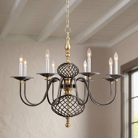 "Prairie Chic 36"" Wide Gunmetal 8-Light Chandelier"