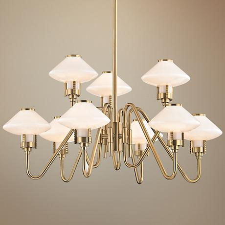 "Hudson Valley Knowles 29 3/4""Wide Aged Brass LED Chandelier"