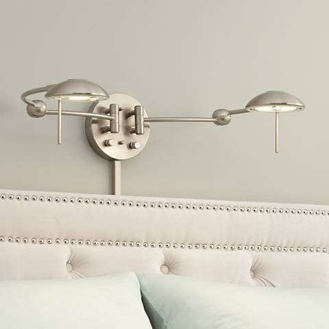 Brushed Steel Double Plug-In Headboard Swing Arm Wall Lamp - Brushed Steel Double Plug-In Headboard Swing Arm Wall Lamp