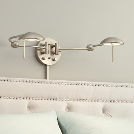Brushed Steel Double Plug-In Headboard Swing Arm Wall Lamp