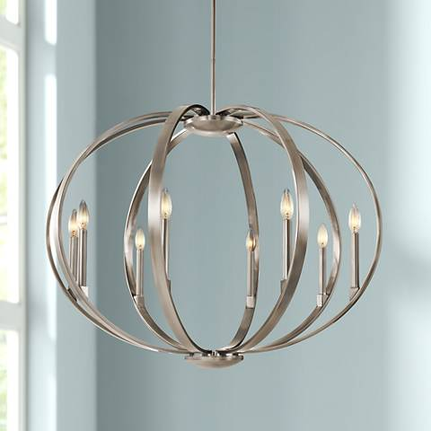 "Kichler Elata 36""W Classic Pewter 8-Light Orbital Chandelier"