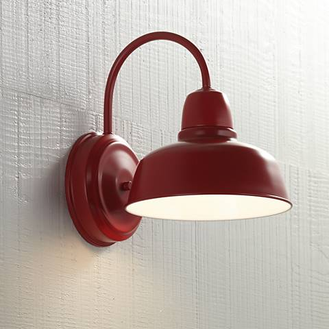 "Urban Barn 11 1/4"" High Red Indoor-Outdoor Wall Light"