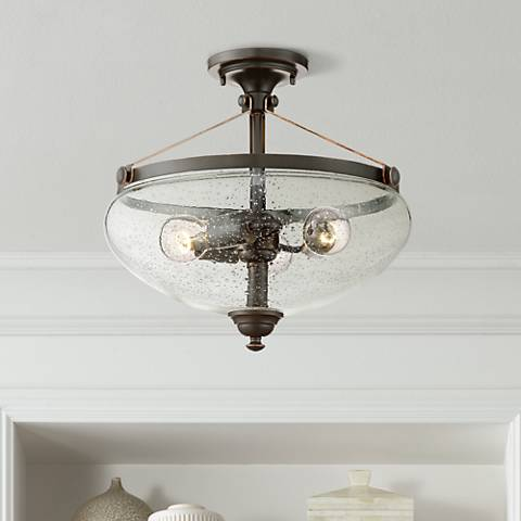 "Hartfield 16"" High Oil Rubbed Bronze Ceiling Light"