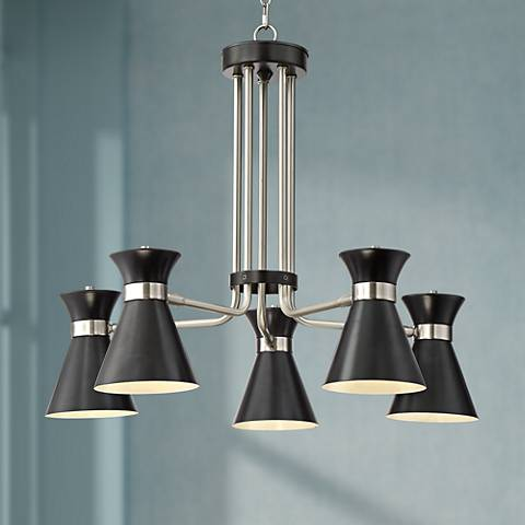 "Possini Euro Desmond 27 1/2""W Nickel w/ Black LED Chandelier"