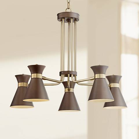 "Possini Euro Desmond 27 1/2""W Brass w/ Bronze LED Chandelier"
