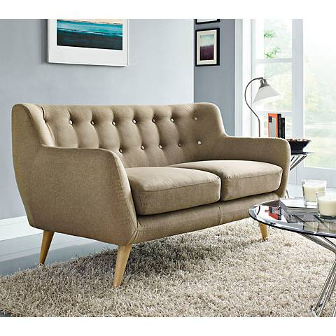 Remark Brown Fabric Tufted Loveseat