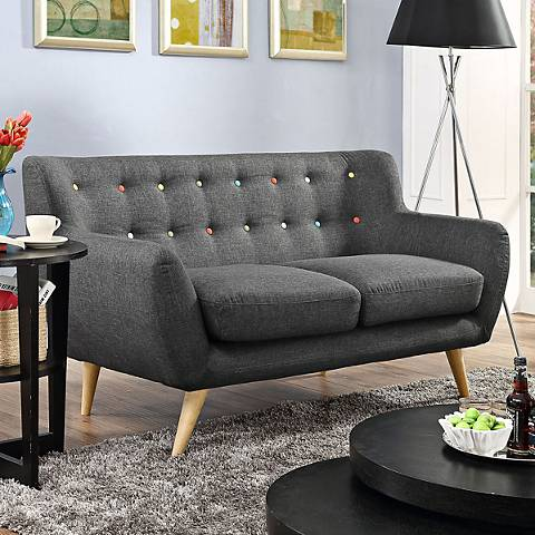 Remark Gray Fabric Tufted Loveseat