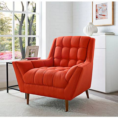 Response Atomic Red Fabric Tufted Armchair