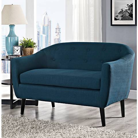 Wit Azure Fabric Tufted Loveseat