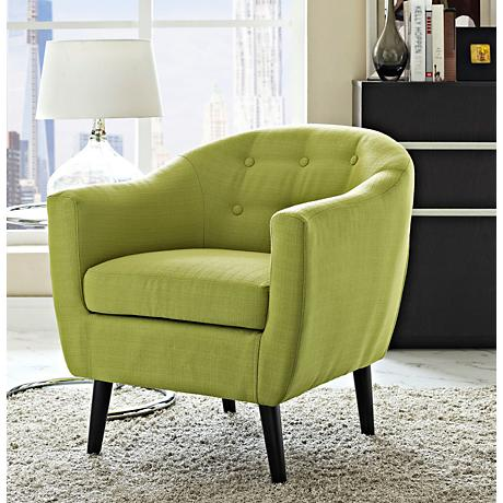 Wit Wheatgrass Fabric Tufted Armchair