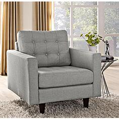 Empress Light Gray Fabric Tufted Armchair