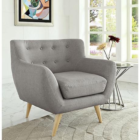 Remark Light Gray Fabric Tufted Armchair