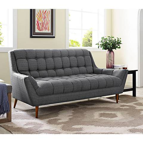 Response Gray Fabric Tufted Loveseat