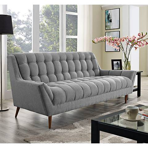 "Response Expectation Gray 89"" Wide Fabric Tufted Sofa"