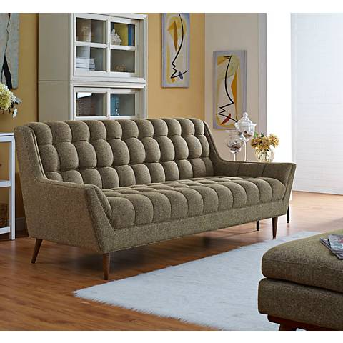 "Response Oatmeal 89"" Wide Fabric Tufted Sofa"